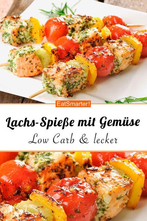 Frisch vom Grill: Lachs-Spieße mit Gemüse   eatsmarter.de #lachs #lowcarb #grillen