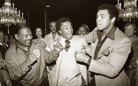 Muhammad Ali: Previously unseen photographs of the Champ:  Three great fighters, Sugar Ray Robinson, Sugar Ray Leonard and Ali at Caesar's Palace, Las Vegas, NV  Ali, in a Las Vegas hotel lobby with the legendary Middleweight Champion, Sugar Ray Robinson (left). Ali called him, 'the king, the master, my idol.' He is regarded as 'pound for pound, the best boxer of all time'. Between them is Sugar Ray Leonard, the first boxer to win titles in five different weight classes