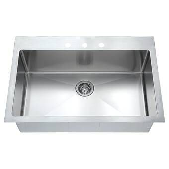 33 L X 22 W Drop In Kitchen Sink With Adjustable Tray And Drain