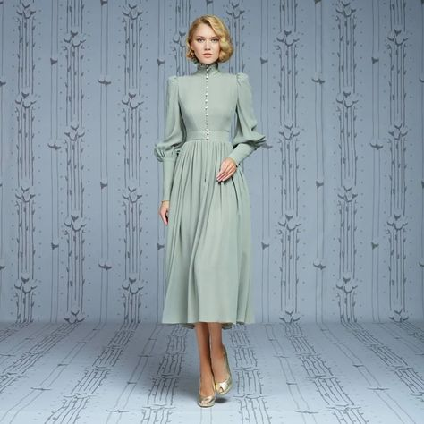 High neck prom dress long sleeve party dress chiffon short dress light green dess - Alison Dress