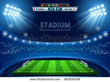 Soccer Game Vector Stadium Light Score Board Scoreboard Field Background 3d Stadium Football Infographic Illustration Building Soccer Stadium Lighting Stadium