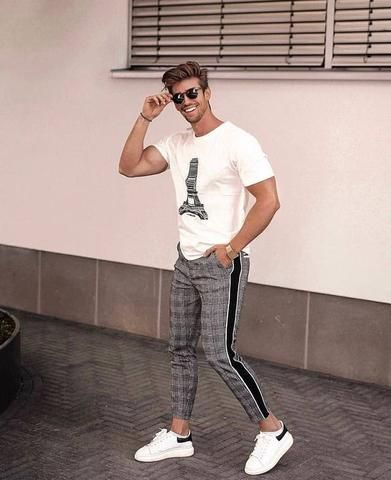 Mens Trousers Tracksuit Fitness Workout Joggers Gym Plaid Sweatpants Sport Long Pants With Pockets
