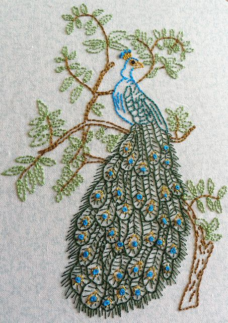 Peacock Embroidery by girlwhoknits, via Flickr Such pretty work. I wish I could embroider.