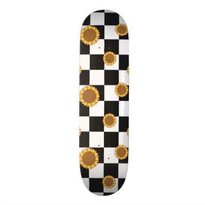 Black And White Checkered Sunflower Print Skateboard Zazzle Com Painted Skateboard Skateboard Deck Art Skateboard