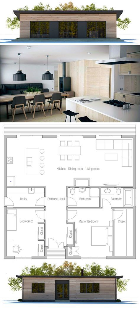 Affordable two bedroom house plan TINY
