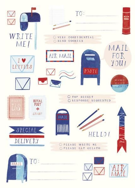 Post Office Sticker Set | Snail Mail | Send cookies, Post