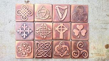 Copper Tiles With Celtic Symbols - Set of 4