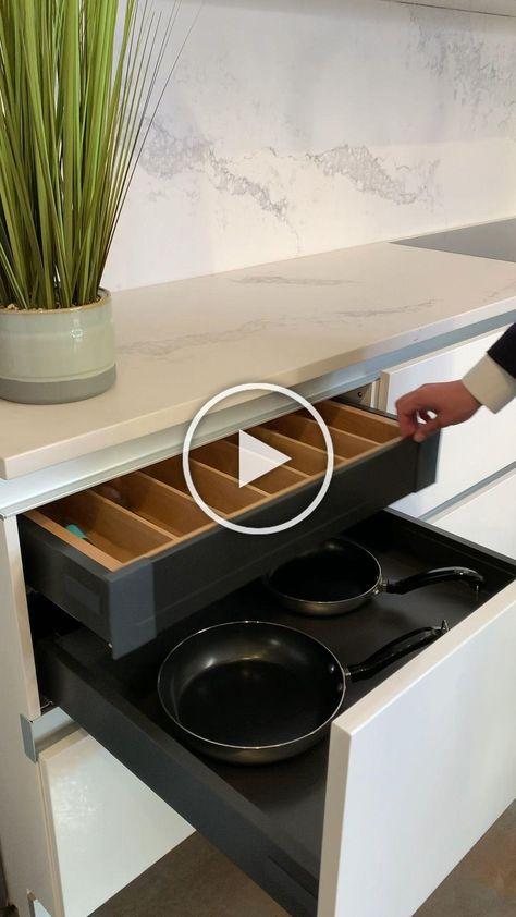 Keep your kitchen streamlined with hidden drawers to create a high end look in your kitchen design. . . . #kitchen #kitchencabinets #kitchendesign #kitchenideas #kitchenremodel #kitchendecor #kitchenisland #kitchenshowroomnewyork #whitekitchen #shakerkitchen #kitchentrends #interiordesign
