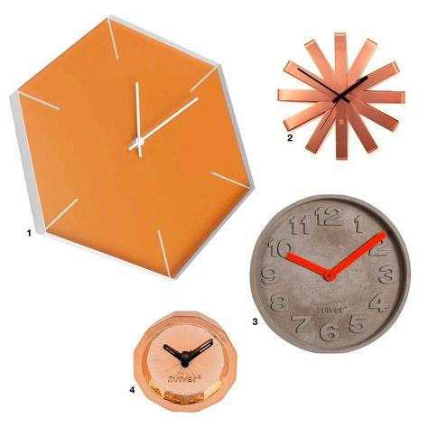 Déco orange horloge murale design cuivre béton hexagonale loft - blog décoration intérieure Clematc