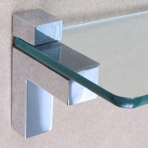 Shelf Clamp Support Bracket Polished  Chrome /& Satin For Wood Glass Acrylic Pair