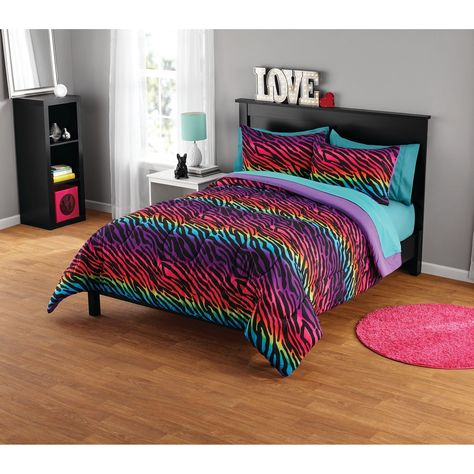 Rainbow Zebra Comforter Set 3 Piece Full Queen Purple Pop