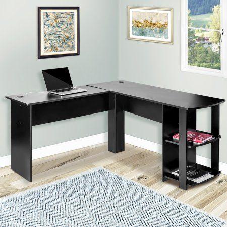 Merax L Shaped Computer Desk With Side Storage Black Walmart Com Cheap Office Furniture Home Office Design Corner Computer Desk
