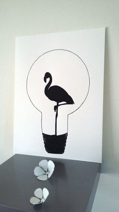 "Affiche Illustration Noir et blanc ampoule "" flamant rose "" : Affiches, illustrations, posters par stefe-reve-en-feutrine"