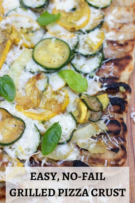 This easy summer squash grilled pizza is made with premade dough and with caramelized onions, cheese & basil toppings for a simple, homemade grilled pizza dough recipe.  #grilledpizza #vegetarian #grilling #pizzadough #homemade