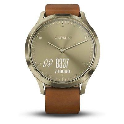 Garmin Vivomove Hr Hybrid Smartwatch White Rose Gold Hr Hybrid Garmin Brown Leather Band Brown Leather Strap Leather Band