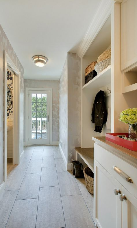 Neutral Mudroom Wallpaper And Tile