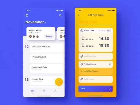 Mellow Calendar Screens by Anton Tkachev #aftereffects #animation #motiongraphics #ui