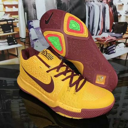 Discount 2017 Nike Kyrie 3 PE Cavs Yellow Burgundy For Sale