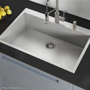 Akdy 32 X 22 Drop In Kitchen Sink With Drain Strainer Wayfair Kitchensink Sink Drop In Kitchen Sink Single Bowl Kitchen Sink