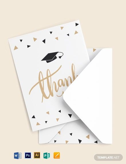 Graduation Party Thank You Card Template Free Pdf Word Psd Apple Pages Illustrator Publisher Id Card Template Thank You Card Template Card Templates Free