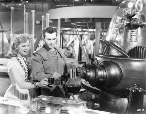 """Anne Francis with Jack Kelly in """"Forbidden Planet"""" (1956)."""