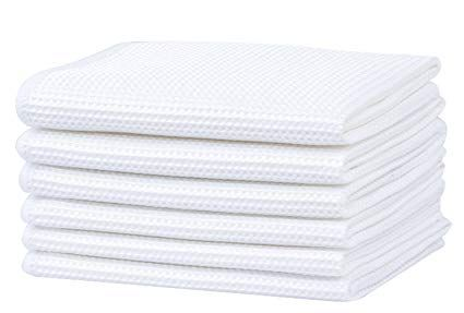 Deep Waffle Weave Dish Cloths White Kitchen Dish Rags For Washing