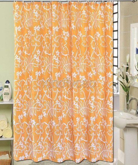 Orange White Leaf Floral Design Bathroom Fabric Shower Curtain Ks862 Fabric Shower Curtains Curtains White Leaf