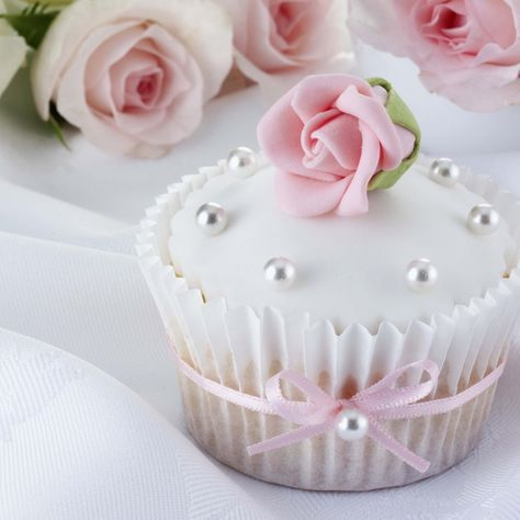 White Iced Pink Rose And Pearls Cupcake Wall Art, Canvas Prints, Framed Prints, Wall Peels Pearl Cupcakes, Pink Cupcakes, Valentine Cupcakes, Valentine Treats, Elegant Cupcakes, Beautiful Cupcakes, Fondant Cupcake Toppers, Cupcake Cakes, Rose Cupcake