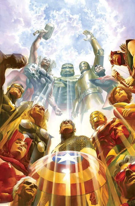 Alex Ross SIGNED Earths Mightiest Heroes Giclee on Canvas Limited Edition of 75