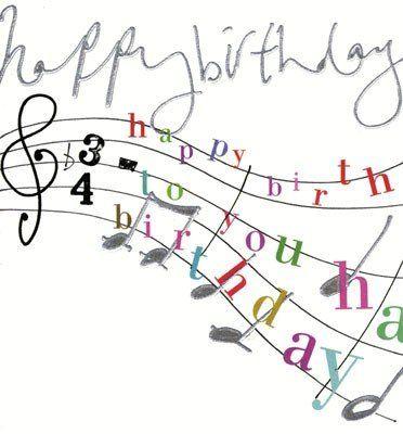 CAROLINE GARDNER   Happy Birthday Musical Notes Card BRAND NEW IN