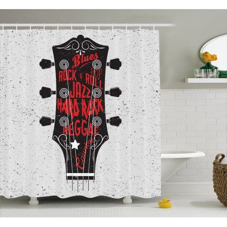Guitar Shower Curtain Hand Drawn Genres Blues Pop Hard Rock