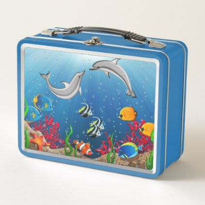 Tropical Underwater World Metal Lunchbox Lunch Box Metal Lunch Box Lunch