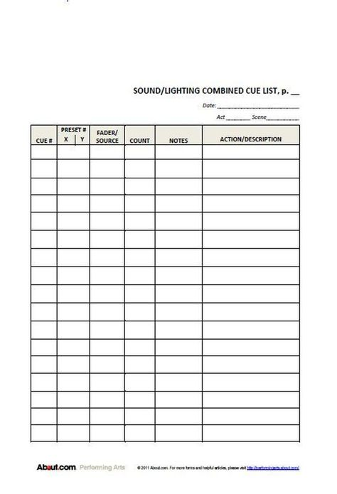 Simple lighting cue sheet for students Backstage Ideas - sign out sheet template
