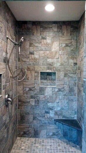 stone shower tile walk in shower