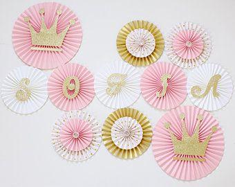 Pink Communion Paper Hanging Fan Decorations x 6