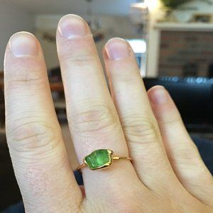 f1327fa6422ea Triple Raw Emerald Ring, Raw Stone Ring, Gold Ring, Unique Gift for ...