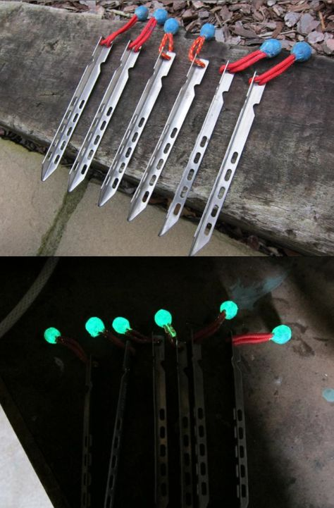 TIP: A camp hack to make glow-in-the-dark tent pegs with sugru so you avoid tripping on them at night.