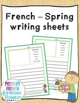 French spring vocabulary writing - Feuilles d'écriture de printemps
