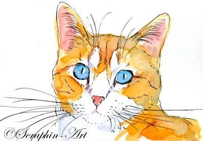 Ginger Tabby Cat Original Aceo Watercolor Miniature Painting