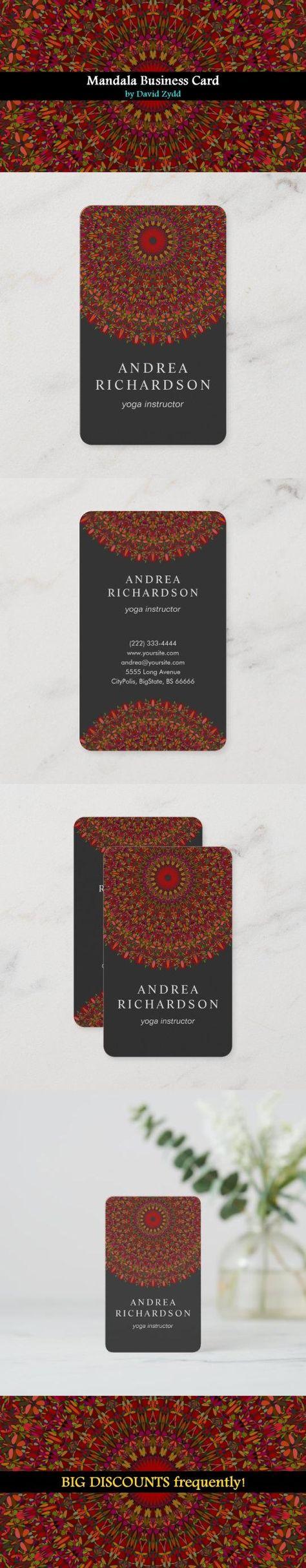 Colorful Flower Mandala Business Card | Zazzle.com