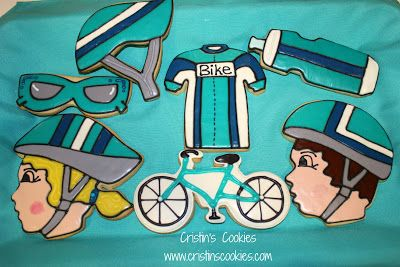 Teal cycling cookies by Cristin's Cookies