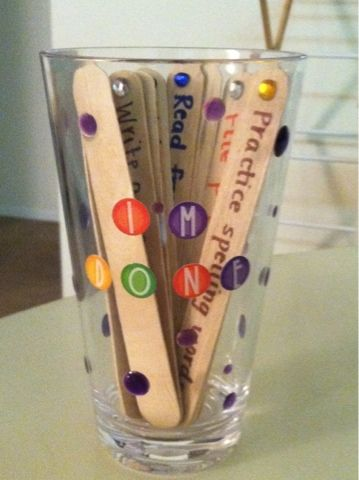 """Students pick a stick from the """"I'm Done"""" cup and work on an activity when they are finished with their work. Teachers can range the activities depending on the grade."""