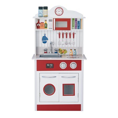 Teamson Kids Little Chef Madrid Classic Play Kitchen Red White Multi Color Kids Play Kitchen Kids Play Kitchen Set Play Kitchen