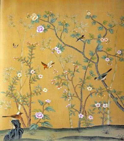 Beautiful Hand Painted Chinese Wallpaper