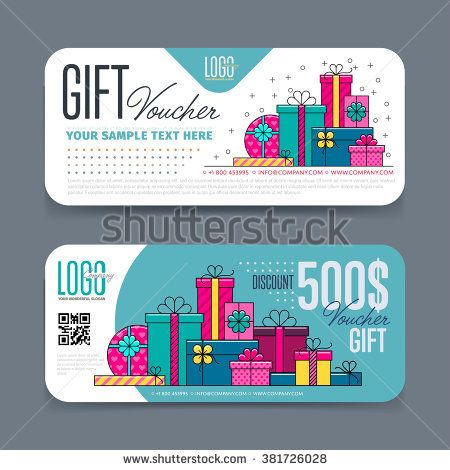 Gift voucher template with colorful pattern,cute gift voucher - coupon flyer template