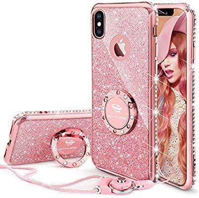 Ocyclone Iphone X Case Cute For Girls Glitter Bling Diamond Rhinestone Bumper With Ring Kickstand Spa Iphone Cases Cute Glitter Phone Cases Iphone