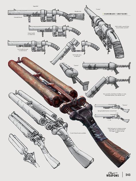 I found an image from Fallout concept art of weapons and saw this handmade shotgun section. So I decided to give this a try to add more weapons to my list.