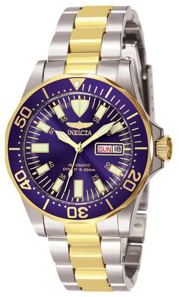 Invicta 7046 Men's Watch Automatic Blue Dial Two-Tone Stainless Steel Band