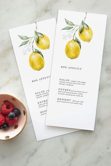 Lemon Citrus Wedding Menu — Design by Laney Wedding Menu, Italy Wedding, Wedding Cards, Wedding Events, Destination Wedding, Dream Wedding, Wedding Day, Wedding Catering, Wedding Gowns