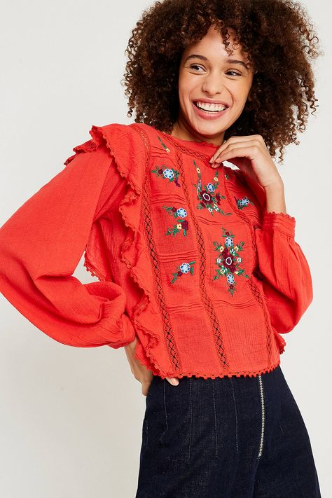Free People Amy Red Floral Embroidered Top Tops Floral Outfits